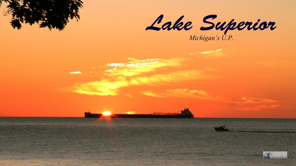 Lake Superior Sunrise Over Freighter With Boat Wallpaper HD - 1920x1080
