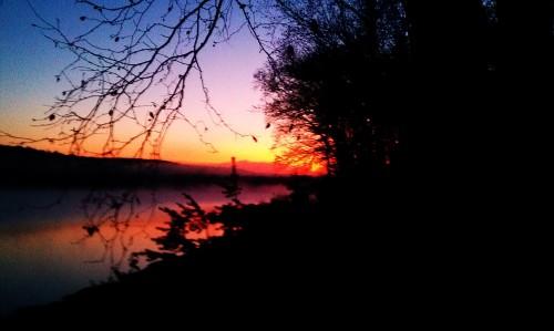 Dead river basin sunset
