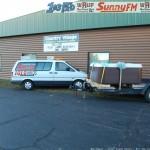 The Great Lakes Radio Van Next to Hot Tub Prize