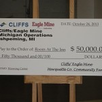 The $50,000 Check Presented to Room at the Inn by Cliffs Natural Resources and Eagle Mine Michigan Operations