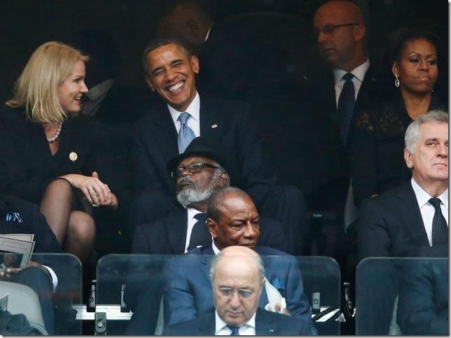 Obama at Nelson Mandela Funeral 2