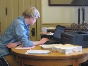 Luke Verstegen finalizing an e-filing.
