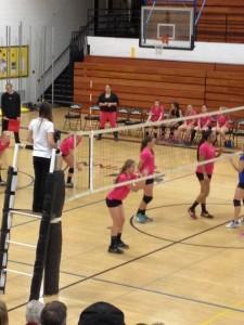 The Gwinn Modeltowner girls JV volleyball team vs the Ishpeming Hematites.