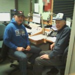 Terry Minzey (left) and Elmer Aho (right) doing a LIVE interview on-air on 103-FXD and WFXD.com.