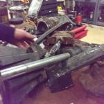 Parts of a sewage pump torn apart for repair