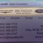 Derrick Juntti business card big valley ford ewen mi