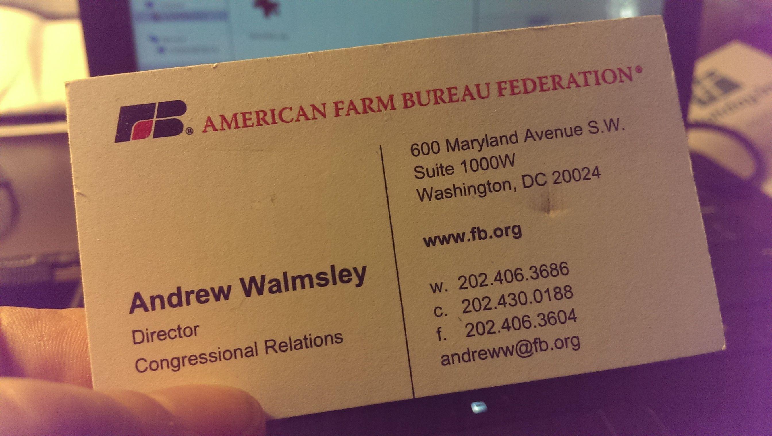 Andrew Waimsley Business Card Farm Bureau In Washington