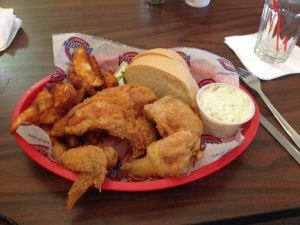 The famous broasted chicken at the Throttle Bar & Grill in Little Lake, MI!