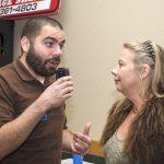 Eric Scott interviewing giveaway winner Pam Paris.