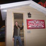 Pam standing in her new sauna!