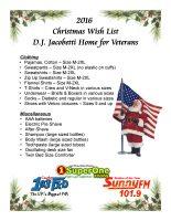 Christmas is for Veterans Christmas Wish List