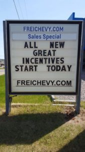 Give Frei Chevy a call at 226-2577