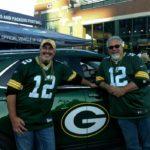 Bill Tibor and Walt Lindala at the official Chevy display at Lambeau Field