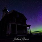 Northern Lights over Au Sable Light Station in Pictured Rocks National Lake Shore.