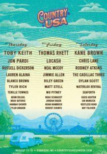 2020 Country USA Oshkosh Artist Line Up