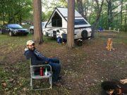 Eric camping in Wakefield, Michigan.
