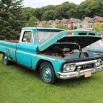 A classic, bright blue GMC Truck