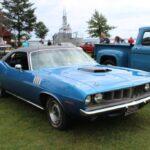 Bright blue Plymouth Barracuda