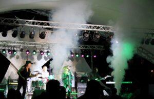 Smoke fills the stage as Jovi performs